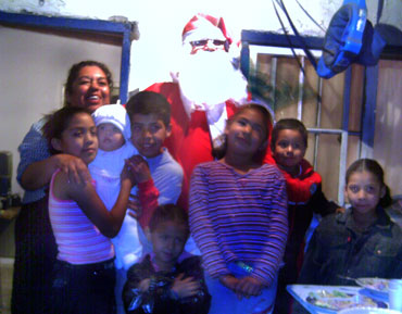 Laura, the children and Santa